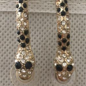 Black Diamond Stone Gold Snake Hoop Post Earrings